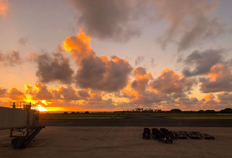 Hawaii Kauai Dramatic Sky Landing Stage Jetway Orange Clouds Sunset Airport Stratocumulus Sunset Sky Cloud - Sky Nature Scenics Beauty In Nature Outdoors No People Landscape Day