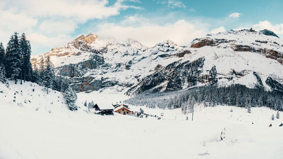Winter Lumix GH5 Swiss Swiss Alps EyeEm Selects Snow Winter Cold Temperature Beauty In Nature Scenics - Nature Sky Mountain Cloud - Sky Snowcapped Mountain Non-urban Scene Real People Winter Sport Sport Adventure Leisure Activity Mountain Range Outdoors Day Nature White Color