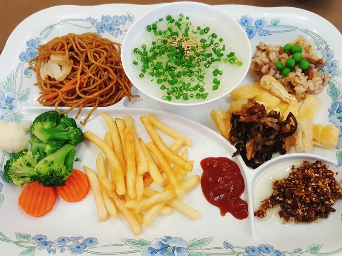 Japanese style breakfast in narita marod FoodhotelEyeEm Selects Food And Drink Plate Ready-to-eat No People Freshness Indoors  Healthy Eating Close-up Day Breakfast Congee Potato Fries Tomato Sauce Broccoli Carrot