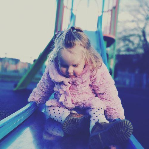 Cute Girl On Slide