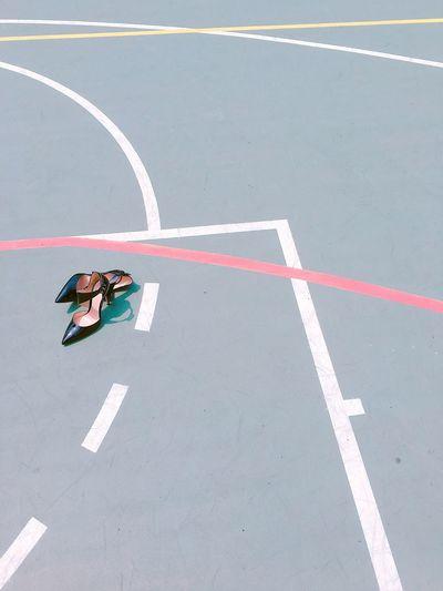 High heels on a basketball court
