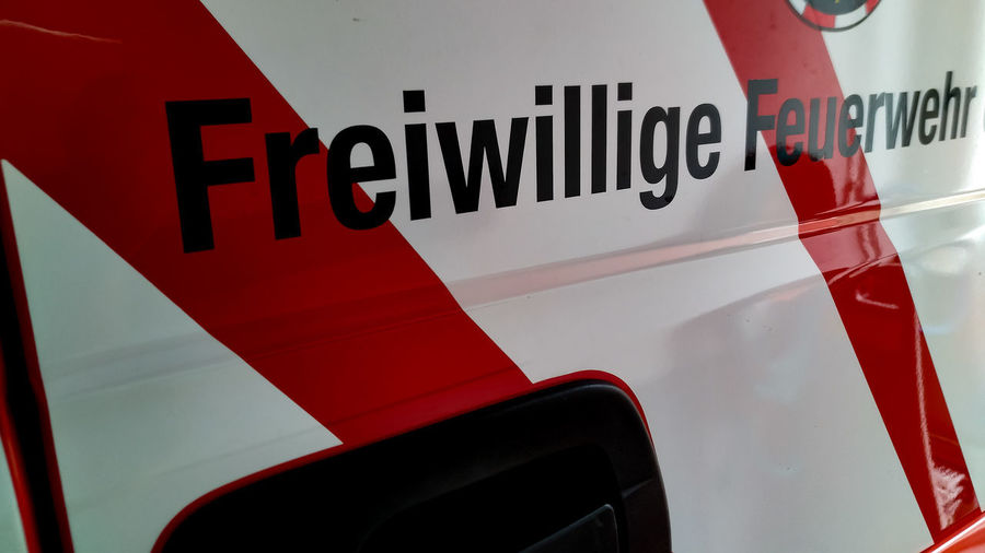 Freiwillige Feuerwehr GERMANY🇩🇪DEUTSCHERLAND@ Freiwillige Feuerwehr Feuerwehr Politics And Government Red Text Business Finance And Industry Close-up Capital Letter Written Board Information Information Sign