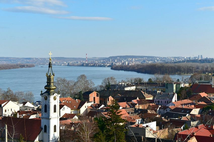 No People High Angle View Winter Day Town Architecture Built Structure Building Exterior Cityscape Clear Sky Water Sky The Graphic City Gardostower Zemun Belgrade Serbia Stories From The City