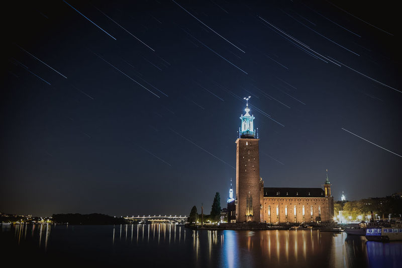 Stockholm City at Night. Stockholm City Hall at night with star-trails. Architecture Building Exterior Built Structure City Europe Light Night Night Photography Nightphotography Outdoors Reflection Scandinavia Sea Stadshuset Startrail  Startrails Stockholm Sweden