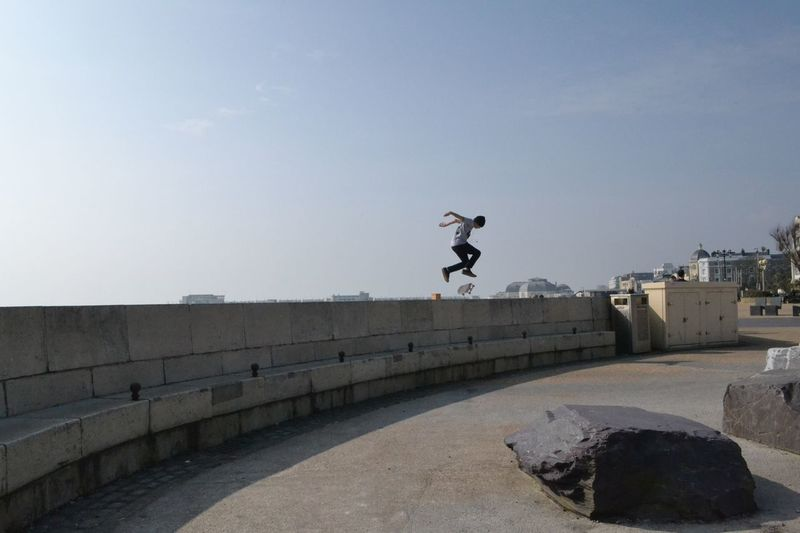 Skater Skateboard Jumping Young Adult Stunt Mid-air Action Worthing Beach Sussex Coast Urban
