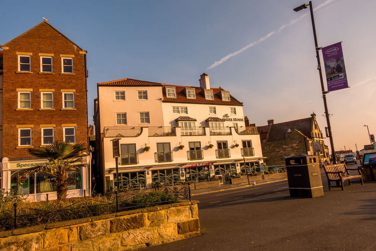 Hotel Whitby View Whitby North Yorkshire Sunlight Sky Architecture Building Exterior Outdoors Street Light No People Building Built Structure City Street The Angel Hotel Sunrise Morning Sun Day Road Residential District