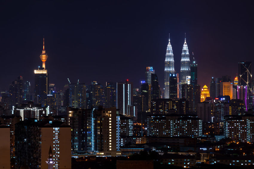 KUALA LUMPUR, MALAYSIA - 24TH FEBRUARY 2017; Kuala Lumpur, the capital of Malaysia. Its modern skyline is dominated by the 451m-tall KLCC, a pair of glass-and-steel-clad skyscrapers. Business Finance And Industry Downtown District Kuala Lumpur City Center Kuala Lumpur City Centre Kuala Lumpur International Airport Kuala Lumpur Malaysia  Kuala Lumpur Tower Kuala Lumpur Twin Tower Night Lights Urban Landscape