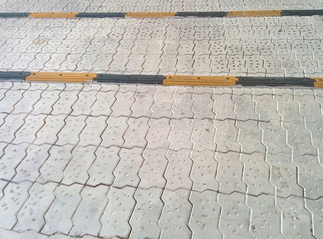 Speed Breaker White Colour No People High Angle View Day Wood - Material Pattern Street Outdoors