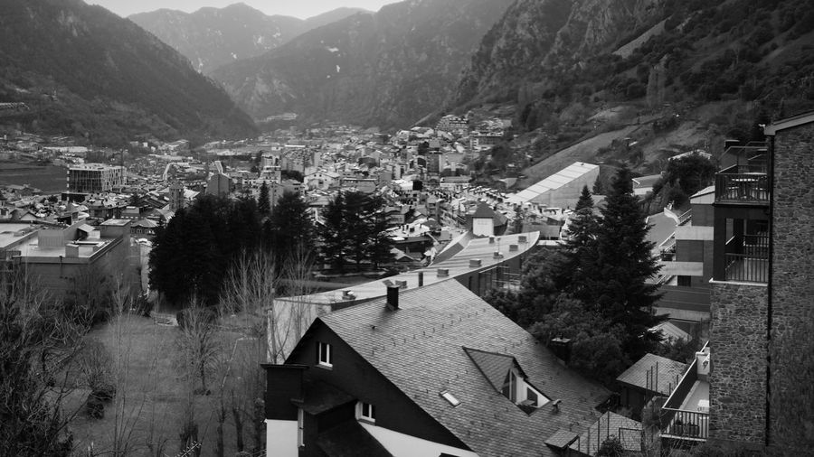 Andorra🇦🇩 Andorra Blackandwhite Black And White Black & White Architecture Tree Built Structure Building Exterior Plant Building Mountain Residential District House Nature City High Angle View Day Town Outdoors Village Growth No People Mountain Range Roof
