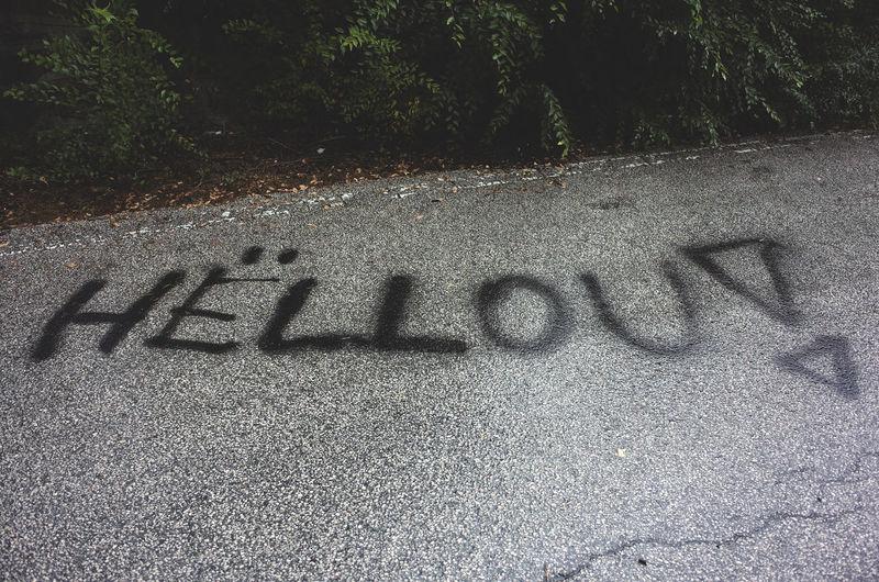HELLOU! Asphalt Communication Green Hello Outdoors Text Western Script Writing Written