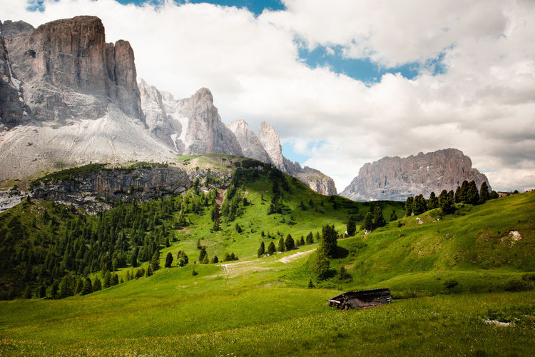 The Dolomites around Val Gardena Sky Nature Mountain Dolomites Alps Alps Italy Green Color Tranquility Landscape_photography Landscape Scenics - Nature Mountain Range Outdoors Mountain Peak Tranquil Scene Grass Sella Group Dolomites