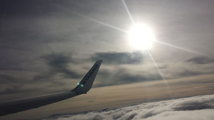 Airplane Air Vehicle Mode Of Transport Sunbeam Bright Flying Tranquility Sky Cloud - Sky Nature Aerial View Cloudscape No Filter, No Edit, Just Photography Having Fun Enjoying Family Time Place Of Heart