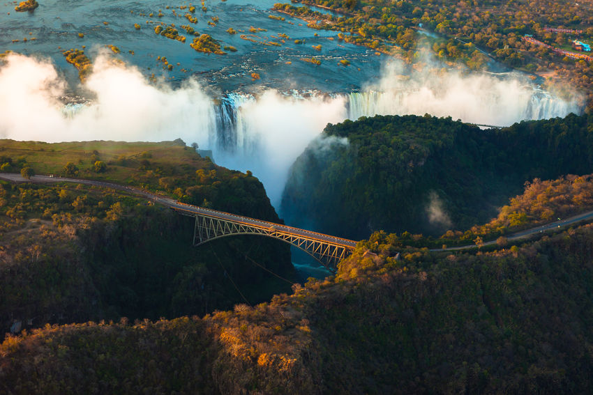 Victoria Falls from the air in the afternoon, a major bungee jumping destination Bridge Bungee Jump Jumping Livingstone