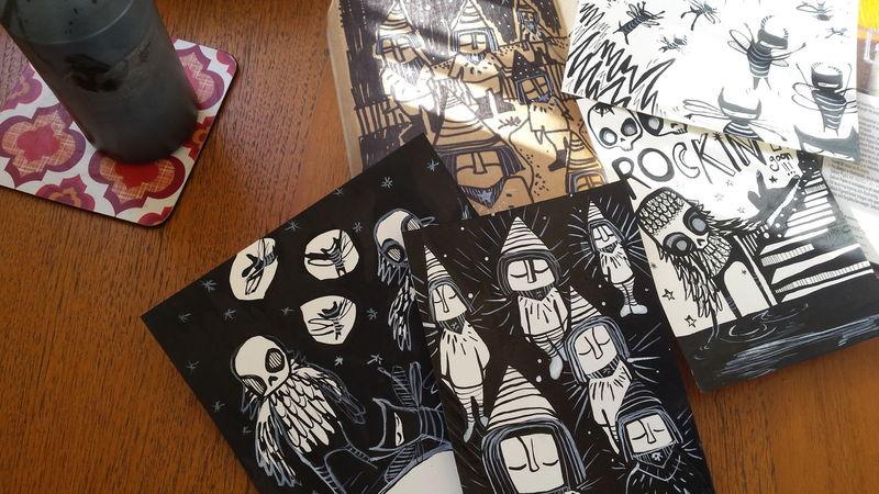Sketches Drawing Illustrator Skulls Halloween Desks From Above Creativity Discipline Graffiti Indoors  Monochrome Paper Still Life Studio Shot Illustration Drawlloween Inktober Ink Ideas Draw Variation Table Challenge
