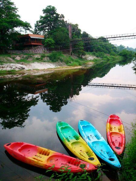 Kayak Bridge Boat River Sky Water Reflections Sony Experia Sp