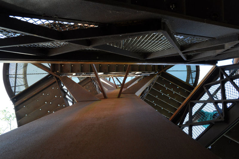 Abstract Architectural Feature Architecture Built Structure Day Elevated Walkway Girder Kew Gardens London Looking Up Metal Modern Narrow Railing Stairs Steps Treetopwalk Uk