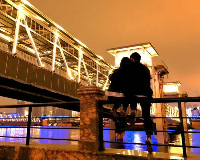 I promise you eternal love! Architecture Bridge Built Structure Couple IPhone Photography IPhoneography Love Lovers Mobile Photography Mobileography Night Photography People River Night Lights Fine Art Photography Colour Of Life Two Is Better Than One