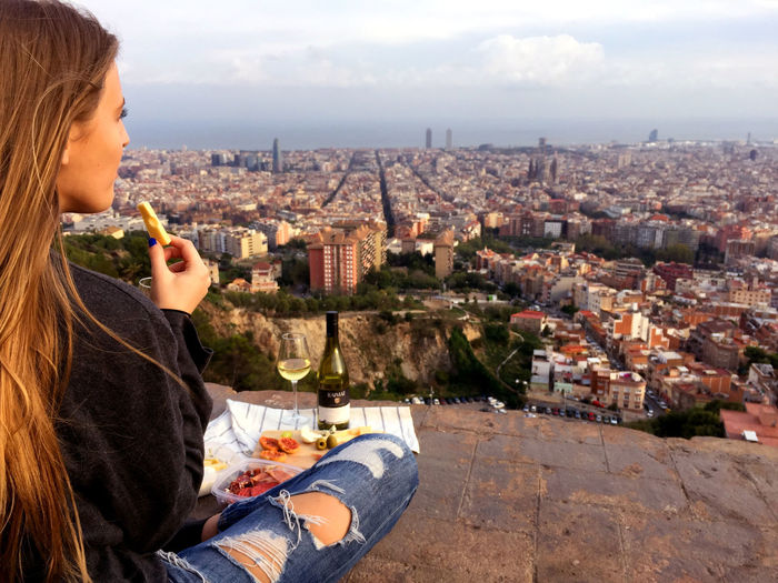 Barcelona Bcn Bites Brunch Bunker Bunkers  Bunkers Del Carmel City Cityscape Dinner Girl Romantic Sky SPAIN Tapas View Woman