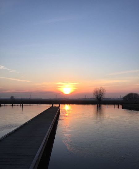 Heerenveen Sunset Beauty In Nature Tranquil Scene Nature Scenics Reflection Tranquility Sky No People Silhouette Outdoors Bare Tree Clear Sky Day Water Netherlands Friesland Landscape