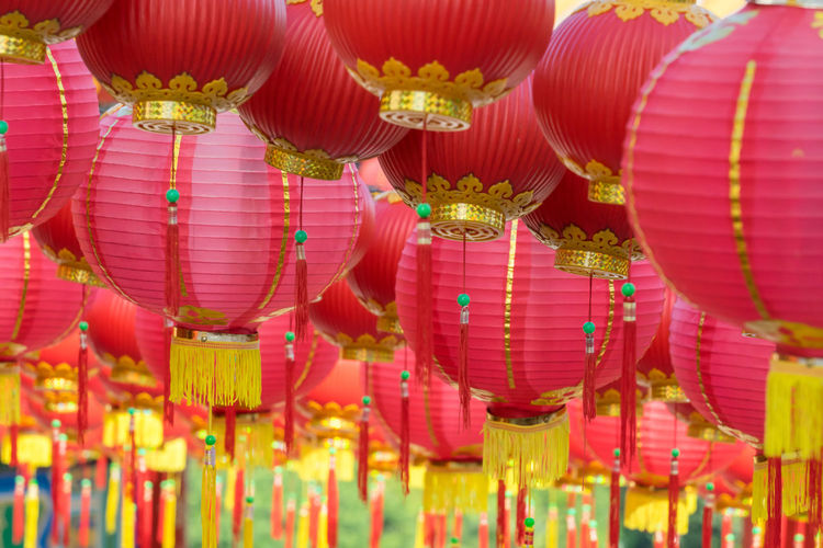 Full frame shot of chinese lanterns hanging outdoors