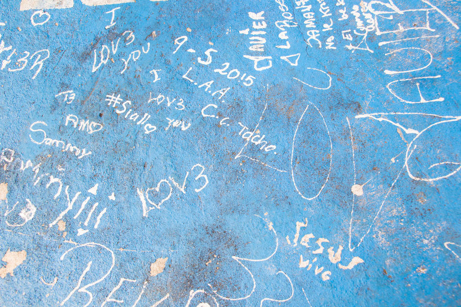 Blue Central America Costa Rica Full Frame Graffiti High Angle View Leaving A Mark Love Marks Park San Jose Scratches Symbol Table Text