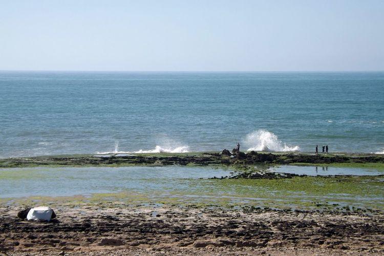 Atlantic Ocean Beach Beauty In Nature Ciel Clair Ciel San Nuage Clear Sky Day Horizon Horizon Over Water La Mer Nature No People Ocean Outdoors Pêcheur Rochers Sand Scenics Sea Sky Vagues Water Wave