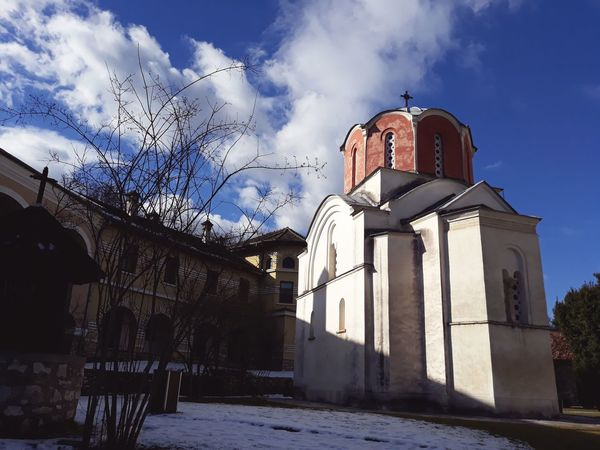 Ortodox Monastery Ortodox Church Monastery Shadow Ancient Architecture Aged Stone Blue Sky Clods And Sky Red Beautiful Sky Byzantine Architecture Serbian Europe Religious Architecture Sky No People Architecture Outdoors Day Building Exterior Clock