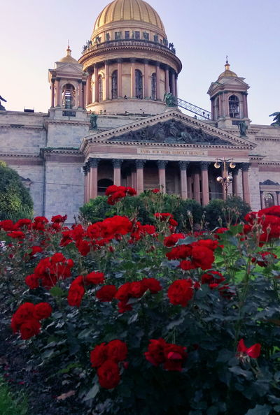 Isaac's Cathedral Saint Petersburg Roses Summer Travel Russia