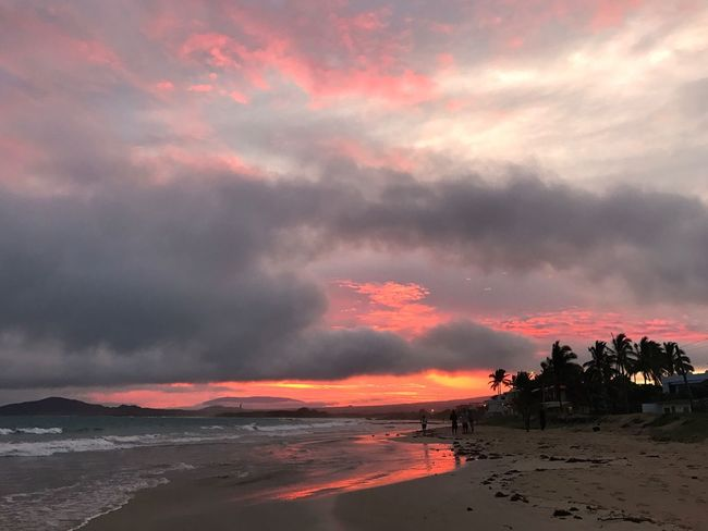 Beach Sand Sunset Dawn Paradise Orange Sky Dramatic Sky People Silhouettes Clouds And Sky Palm Trees Beauty In Nature Sky Cloud - Sky Nature Scenics Orange Color Outdoors Dramatic Sky Tranquility Tranquil Scene Water No People Sea Beach Architecture Day