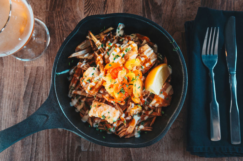 Cast iron skillet fish and chips Fish And Chips Heritage Food Bowl Cast Iron Cast Iron Skillet Directly Above Food Food And Drink Fork Freshness Healthy Eating High Angle View Indoors  No People Plate Ready-to-eat Rewilding Serving Size Table Wildling