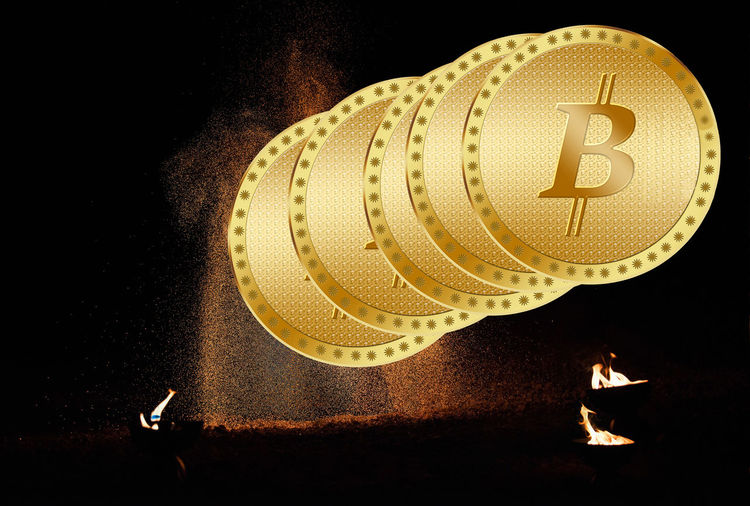 Golden Bitcoin Digital Currency, Futuristic Digital Money, Worldwide Network Technology, Flame Burning Fire Illuminated Close-up No People Fire - Natural Phenomenon Indoors  Night Heat - Temperature Black Background Still Life Communication Representation Glowing Nature Focus On Foreground Text High Angle View Human Representation