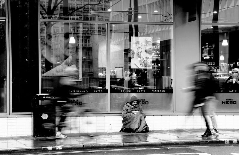 The Streets Martin Homless Beggar Blurred Motion Store City Clothing Store Fashion Street Store Window
