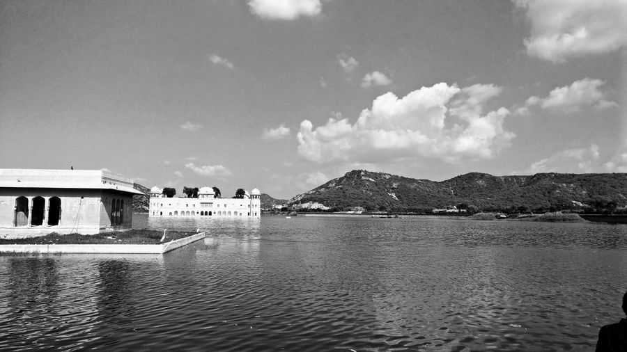 Jal Mahal...A palace in the water. Cloud - Sky Sea Sky Architecture Built Structure Outdoors Water Building Exterior Nature Day Travel Destinations No People Beach Scenics Itswhatido Indian Architecture Picoftheday First Eyeem Photo