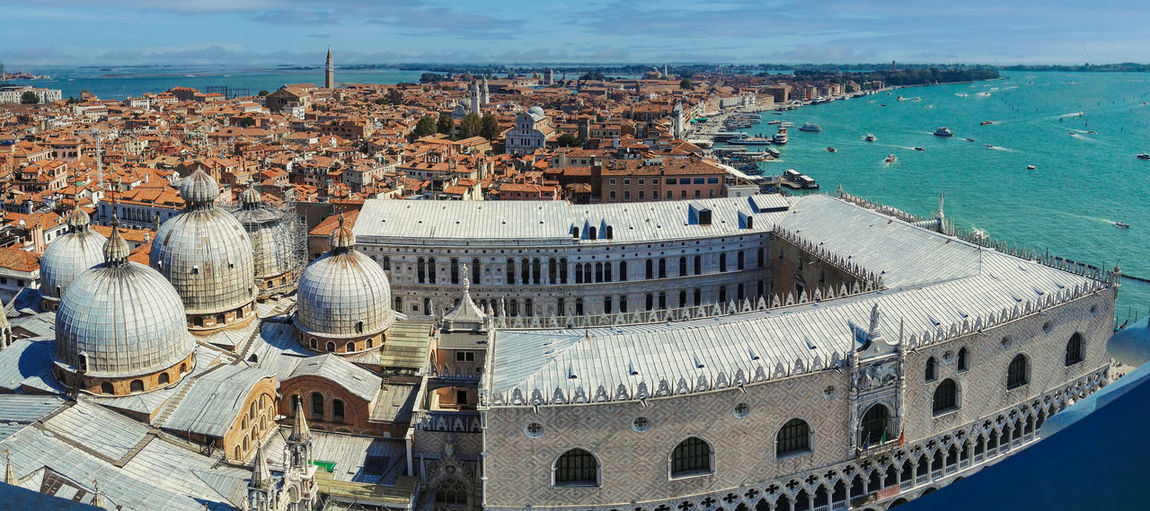 Venice, italy panorama wide angle aerial drone shot of venice city by the mediterranean sea
