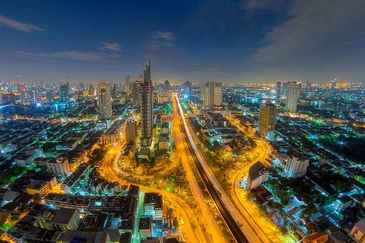High angle view of illuminated buildings in city at night. bangkok city.