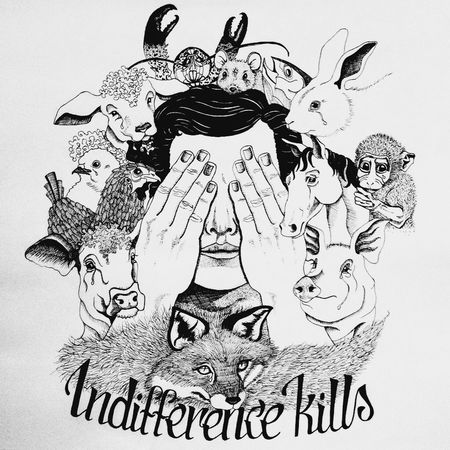 "My ArtWork ""Indifference kills"" 🙌 GoVegan Ink Serigrafia Loveanimals Invendita"