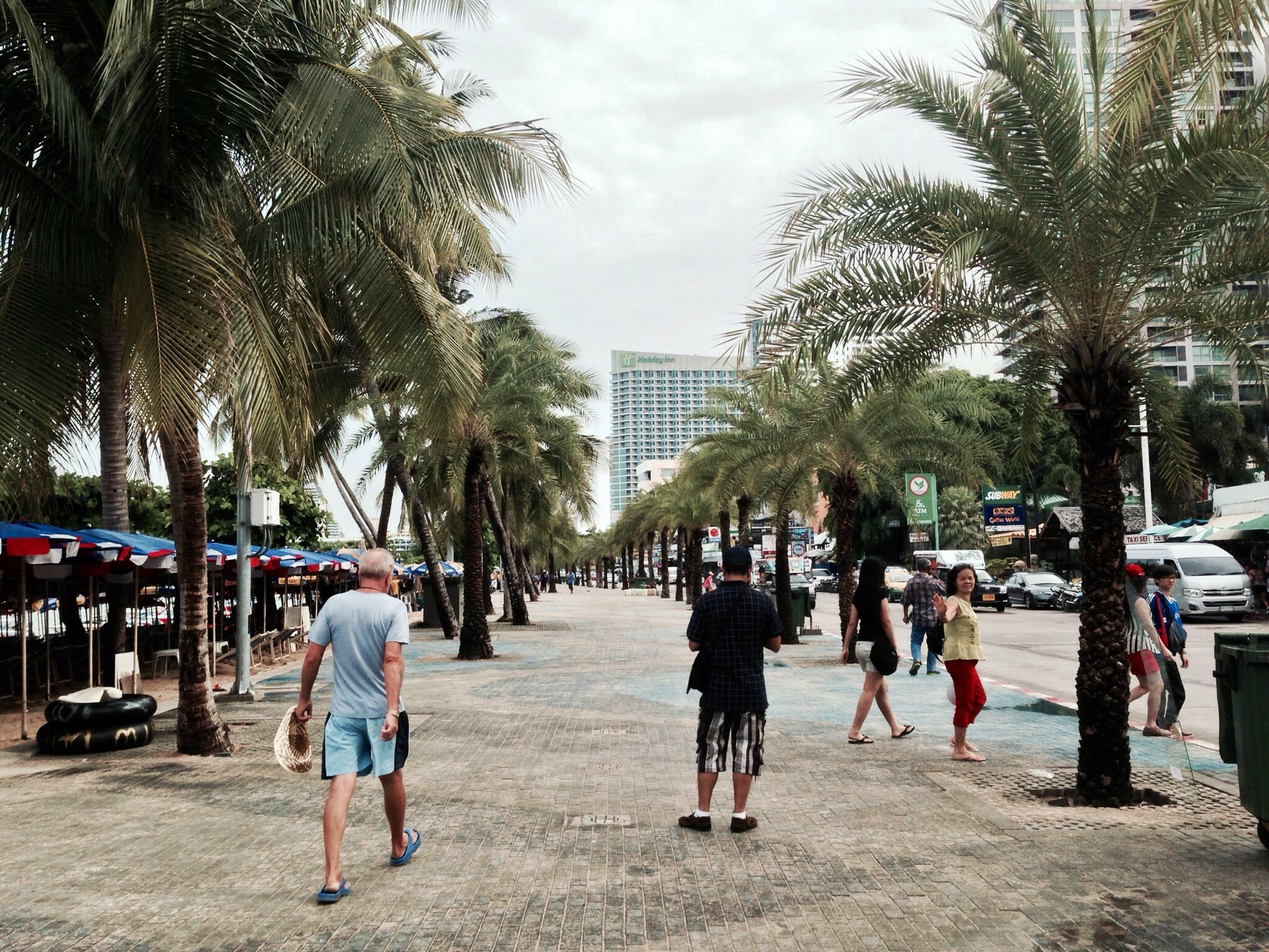 lifestyles, tree, person, men, walking, building exterior, leisure activity, large group of people, city, architecture, built structure, street, full length, city life, sky, togetherness, rear view, casual clothing, mixed age range