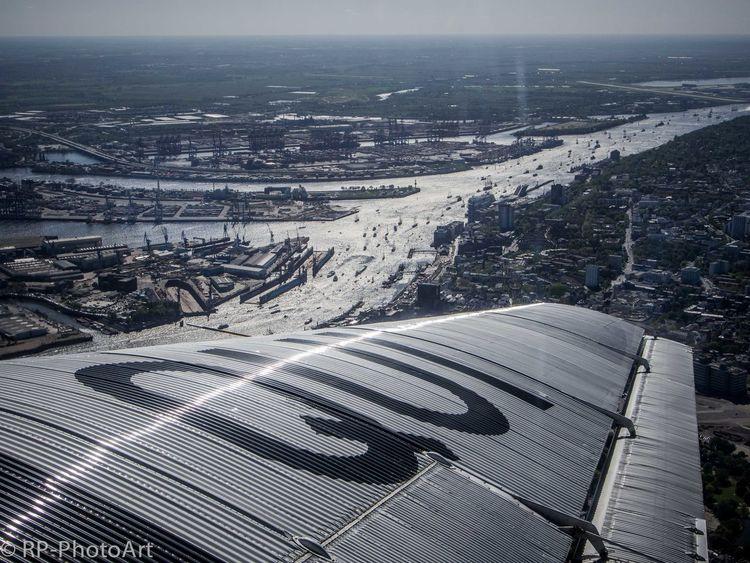 From above Hamburg River Elbe Ships Blue Sky Sailing Boats JU-52 I Love My City