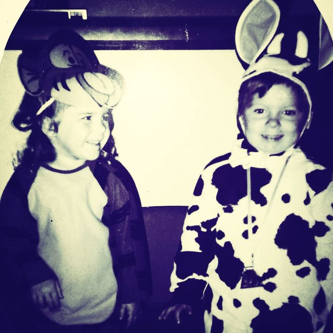 I was in the cow outfit and my frien Melanie was in the tigger outfit. Best friends forevs.