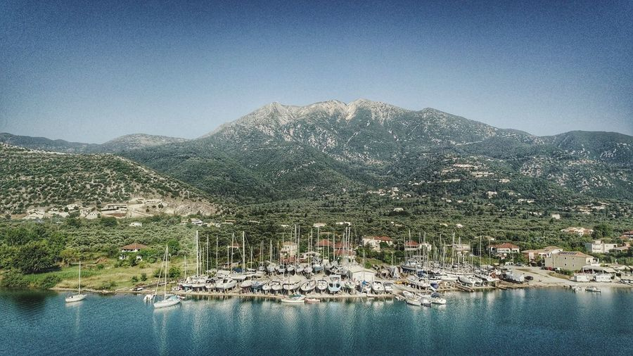 Mountain Range Mountain Vacation Sea Sea And Sky Yachting Vacation Time Holiday Summertime Panorama Aerial View Aerial Shot Aerial Photography Drone Photography Lefkada, Greece Lefkada Water Tree Mountain Lake Blue Sky Mountain Range Landscape Tranquil Scene Tranquility Idyllic Rocky Mountains Lakeside