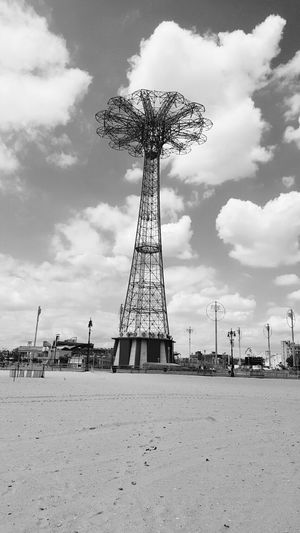 Coney Island Black And White The Beach  Beach Sand Parachute Jump Rides The Sky Clouds Clouds And Sky