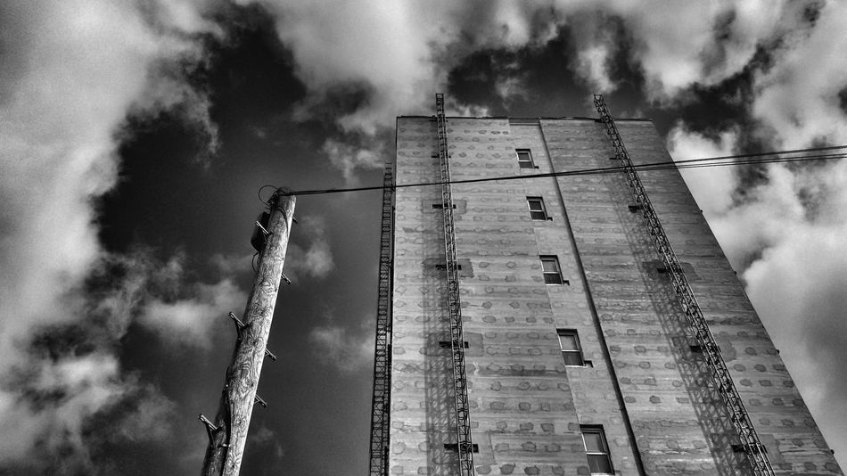 Building and post Building Urban Pole Sky Landscape Clouds Monochrome Black And White Photography Monochromatic Cityescape Perspective Uk Hampshire
