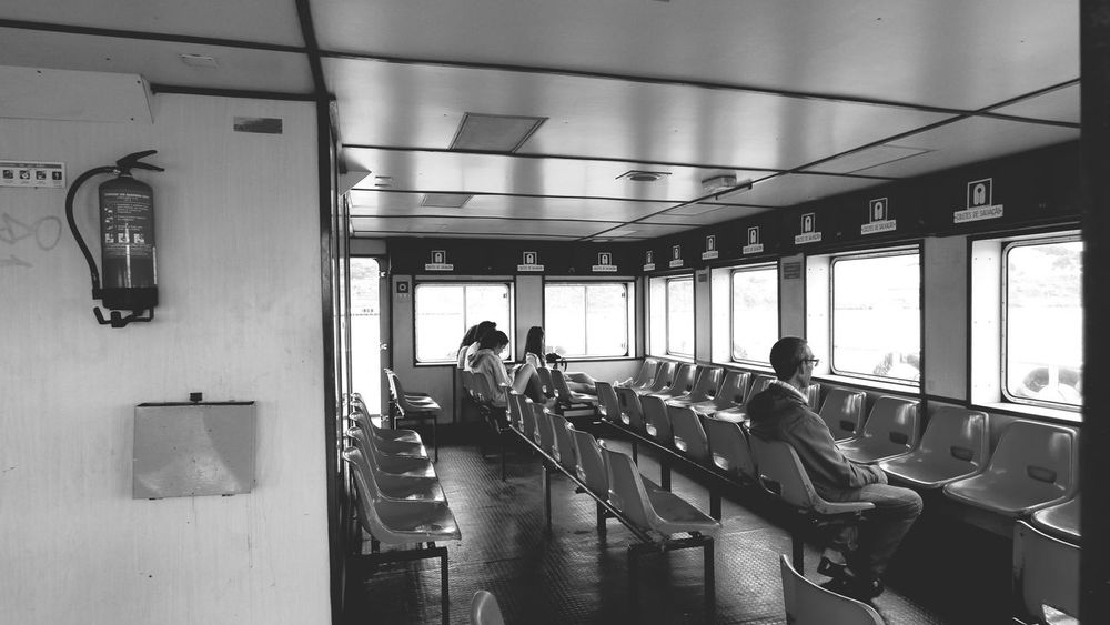Chair Passenger Boat Boat Interior Chairs Seats Boat Nautical Vessels Indoors  People Sitting Way To Go Home Indoors  Nautical Vessel Nautical Theme Monochrome _ Collection Black And White Collection  Monochrome_life
