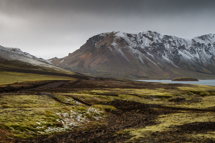 Mountain Scenics - Nature Beauty In Nature Environment Landscape Sky Tranquil Scene Tranquility Mountain Range No People Nature Non-urban Scene Day Cloud - Sky Idyllic Land Outdoors Plant Snow Mountain Peak Vulcano Vulcanic Landscape Landmannalaugar Iceland