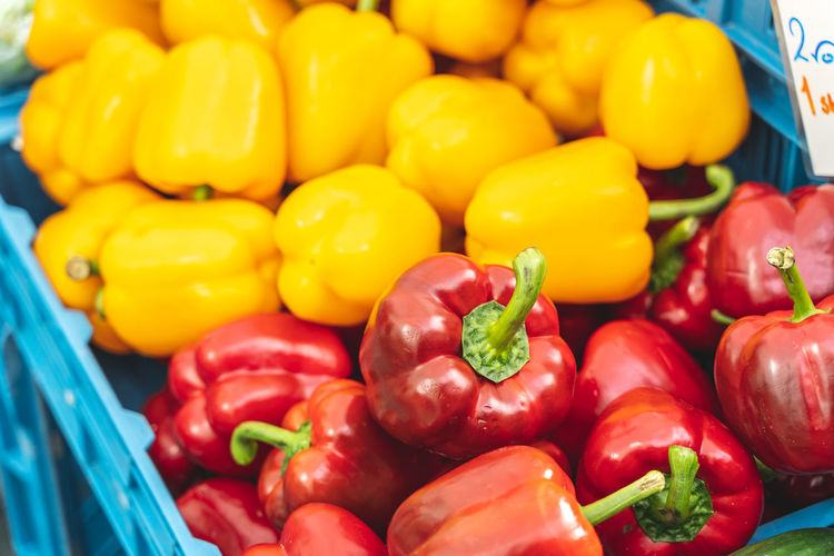 Close-up of bell peppers for sale in market