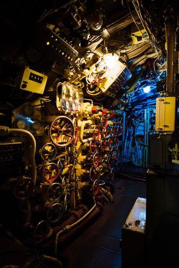 View of illuminated machine at night