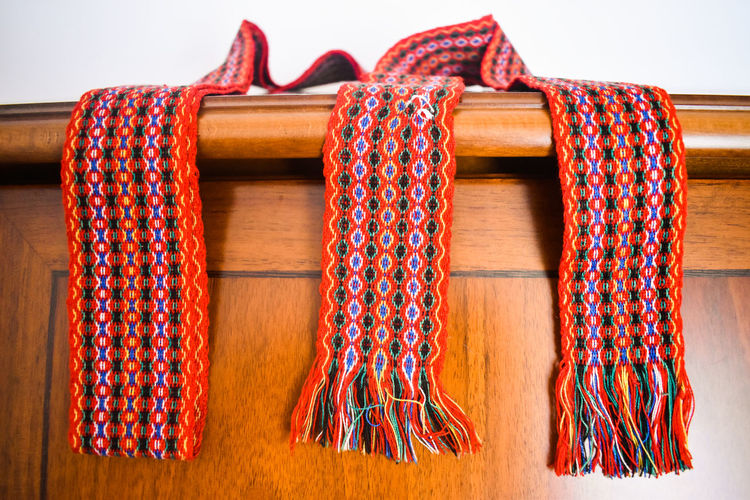 Scarf on cupboard