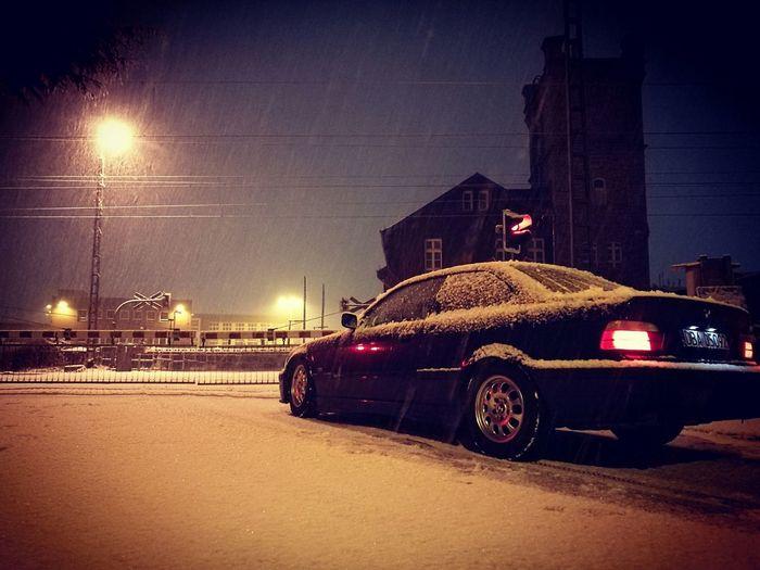 Car Night Street Light Snow Winter Bmw I ♥ It Bmw E36 Bmwlove First Eyeem Photo
