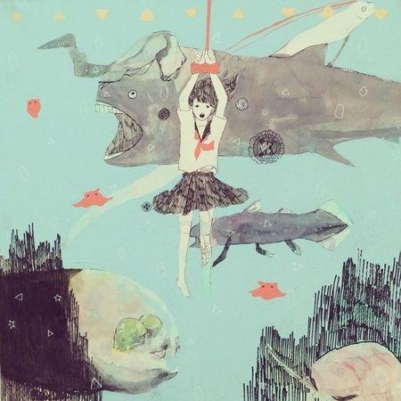 水槽、水葬? イラスト 女の子 セーラー服 Illustration 深海