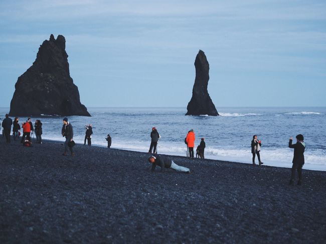 Sea Horizon Over Water Beach Water Leisure Activity Lifestyles Tourist Nature Rocks Rocks And Water Black Sand Beach at Vík í Mýrdal in Iceland Iceland_collection Iceland Memories Beautifully Organized Enjoy The New Normal My Year My View Miles Away Break The Mold The Great Outdoors - 2017 EyeEm Awards The Street Photographer - 2017 EyeEm Awards BYOPaper! Lost In The Landscape